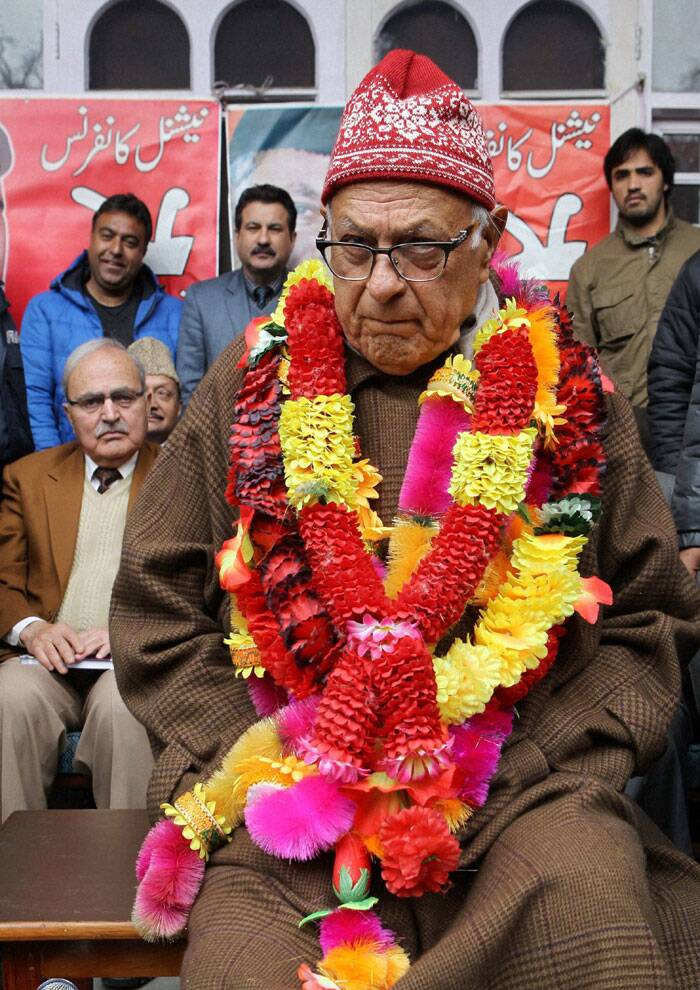 Jammu and Kashmir National Conference president Farooq Abdullah during a workers meet at Nawa-E- Subah head quarter in Srinagar on Saturday. (PTI)