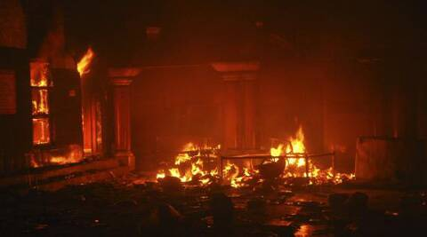A Hindu temple after it was attacked in Larkana, southern Pakistan's Sindh province. (Reuters)