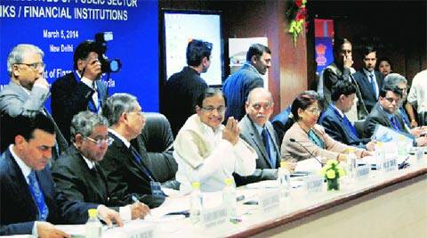 Finance Minister P Chidambaram with Rajiv Takru, Secretary, Department of Financial Services, during a meeting with chiefs of banks in New Delhi. PTI