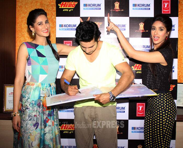 The girls have some fun  with Varun, while he is unaware of what is happening. (Photo: Varinder Chawla)