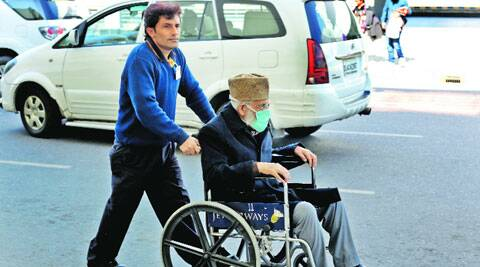 Geelani at Delhi airport on Thursday afternoon. (IE Photo: Ravi Kanojia)