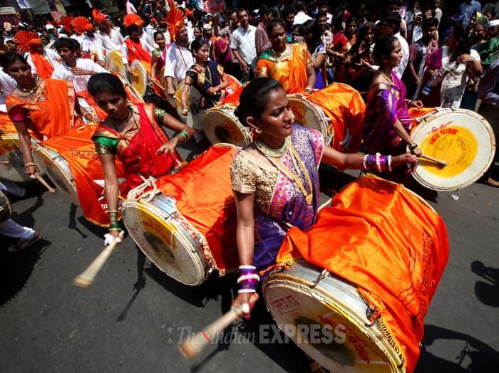 Maharashtrian women perform during 'Shobha Yatra'. (IE Photo: Pradip Das)