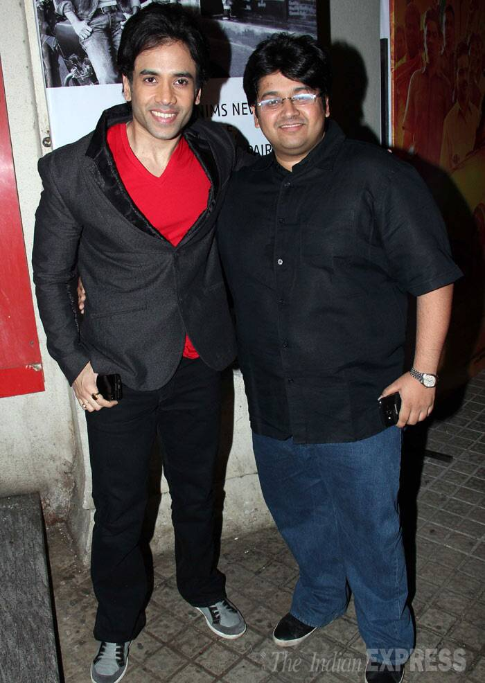 Tusshar Kapoor smiles for a picture along with a friend. (Photo: Varinder Chawla)