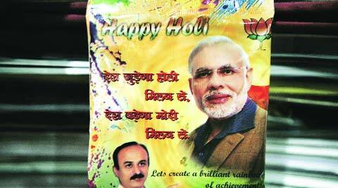 Modi's picture on a gulaal packet. (Praveen Kanna)