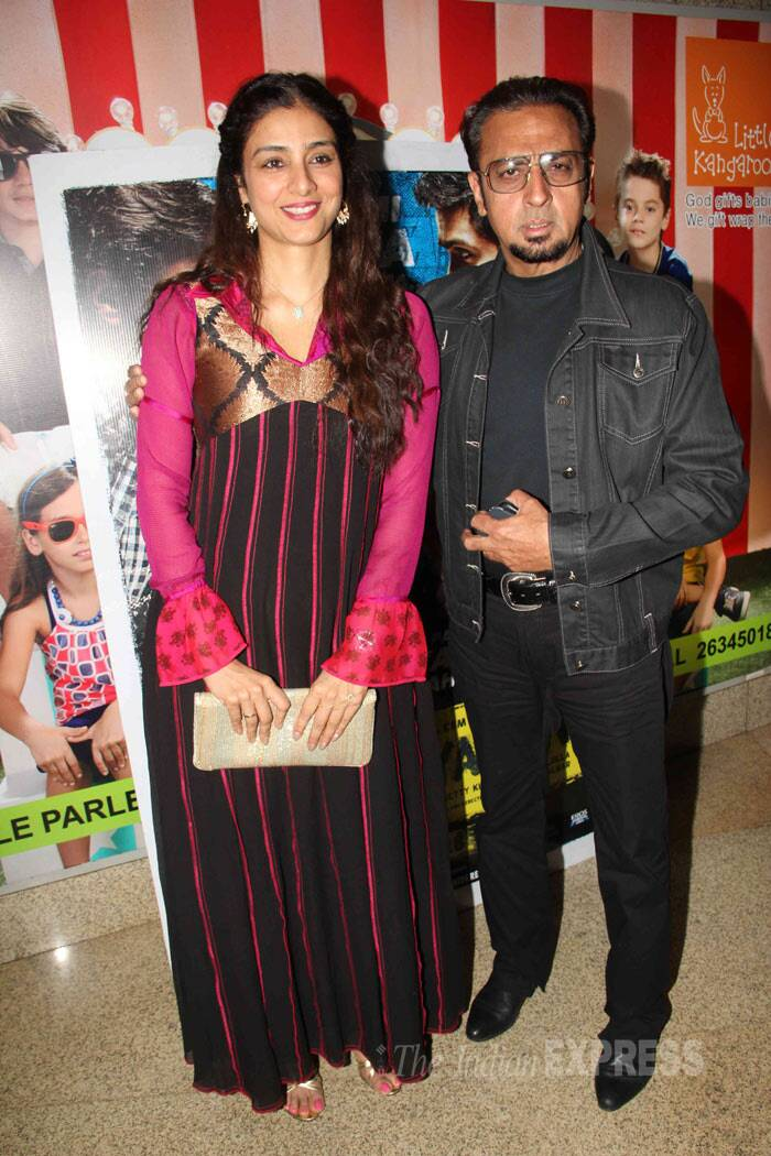 Tabu, who will soon be seen on screen in Vishal Bhardwaj's 'Haider', was simple in a maxi. She was seen with 'bad man' Gulshan Grover. (Photo: Varinder Chawla)
