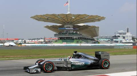 Mercedes driver Lewis Hamilton tops the time sheets for first practice session for the Malaysian Formula One Grand Prix. (AP)