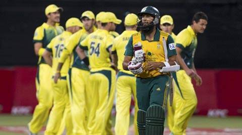 Hashim Amla leaves the field after getting out during the cricket T20 International cricket match against Australia in Durban (Reuters)