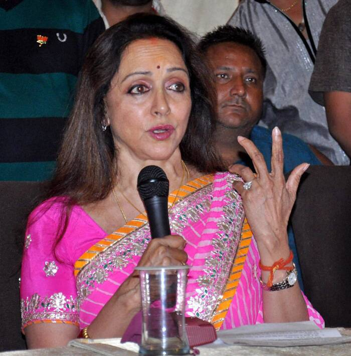 """Hema Malini who is BJP's Lok Sabha candidate from Mathura, has said that eliminating pollution from Yamuna will be her top priority. """"Protection of our cultural heritage in the form of Ganga and Yamuna is vital. I would do my best to ensure clean Yamuna,"""" she said. (PTI)"""