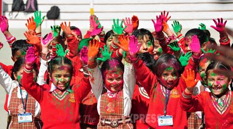 Students in Chandigarh celebrate Holi. (Indian Express)