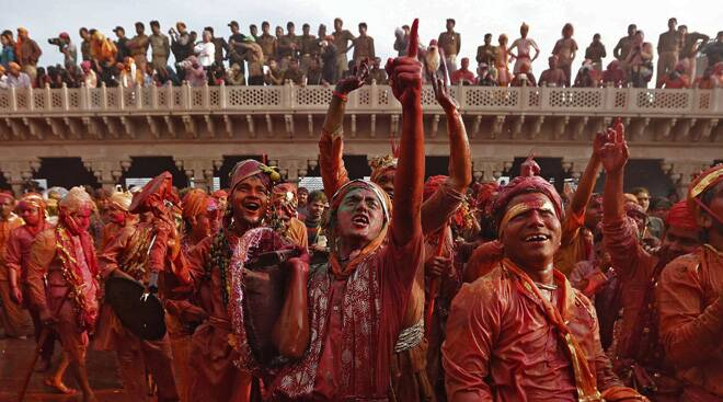 Lathmar Holi in full swing