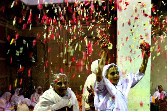 It was a remarkable sight when the widows, mostly in the 70s and 80s, stooping low with age, danced and splashed gulal and gallons of water colours on each other. (IE Photo: Ravi Kanojia)