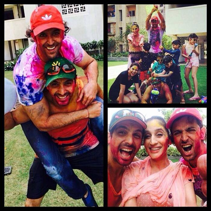 Bollywood actor Hrithik Roshan, Sonam Kapoor, Lara Dutta and Kalki Koechlin shared photos celebrating the festival of colours with family friends and fans! Celebs are revelling in the festivities but they did not forget to share their best Holi moments with their fans. <br />Bollywood heartthrob Hrithik Roshan did not let a bad year overpower his Holi fun. The 'Krrish' actor was spotted enjoying Holi with his sons Hrehaan and Hridhaan sans estranged wife Sussanne. But joining the boys was Sussanne's sister and designer Farah Khan Ali along with his brother-in-law Zayed Khan in Mumbai. Hrithik, Zayed and Farah enjoying the festivities.