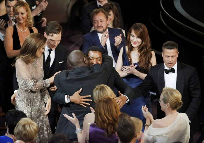 There were hugs all around when '12 years a Slave' bagged the Oscar for best picture.