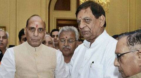 BJP President Rajnath Singh with Lok Sabha candidate Hukum singh. (File photo PTI)
