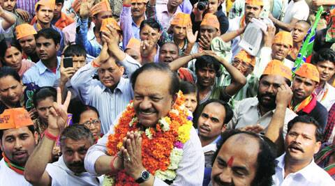 Harsh Vardhan campaigns in Wazirpur. (IE Photo: Prem Nath Pandey)