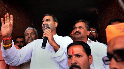 Hukum Singh and Sanjeev Baliyan, declared candidates by the party in the riot-hit areas of Kairana and Muzaffarnagar. (Express)