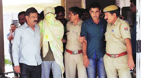 Delhi Police in Jodhpur with one of the terror accused on Sunday. Mohammed Sharif
