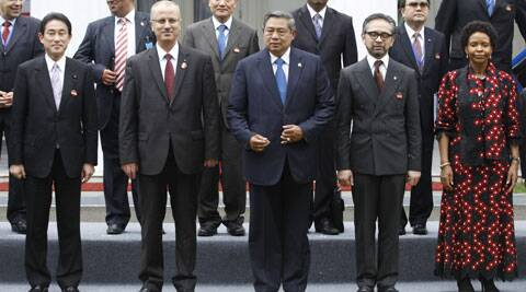 From left, Japanese Foreign Minister Fumio Kishida, Palestinian Prime Minister Rami Hamdallah, Indonesian President Susilo Bambang Yudhoyono, Indonesian Foreign Minister Marty Natalegawa and South African Minister of International Relations Maite Nkoana-Mashabane stand for a group photo session during the 2nd Conference on Cooperation among East Asian Countries for Palestinian Development (CEAPAD) in Jakarta, Indonesia. (AP)