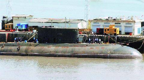 INS Sindhuratna at the naval dockyard in Mumbai after the mishap. (PTI)
