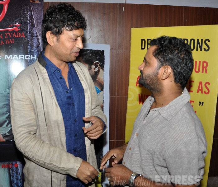 Irrfan snapped catching up with Resul Pookutty. (Photo: Varinder Chawla)