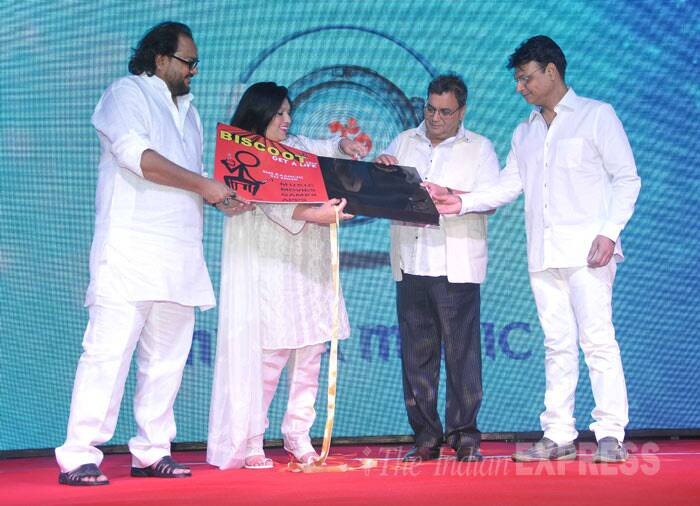 Music director Ismail Darbar, Subhash Ghai and writer Irshad Kamil unveil the music. (Photo: Varinder Chawla)