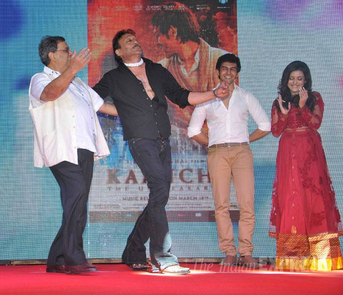 Director Subhash Ghai's original 'Hero' Jackie Shroff danced with his mentor at the music launch of his new directorial venture 'Kaanchi' in Mumbai on Tuesday (March 18).  (Photo: Varinder Chawla)