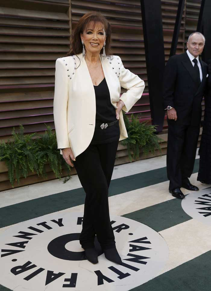 Novelist Jackie Collins arrives at the 2014 Vanity Fair Oscars Party. (Reuters)
