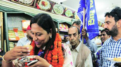 campaign trail: BSP leader Jannat Jahan takes a break in Sector 18, Chandigarh, on Friday. (Jaipal Singh)