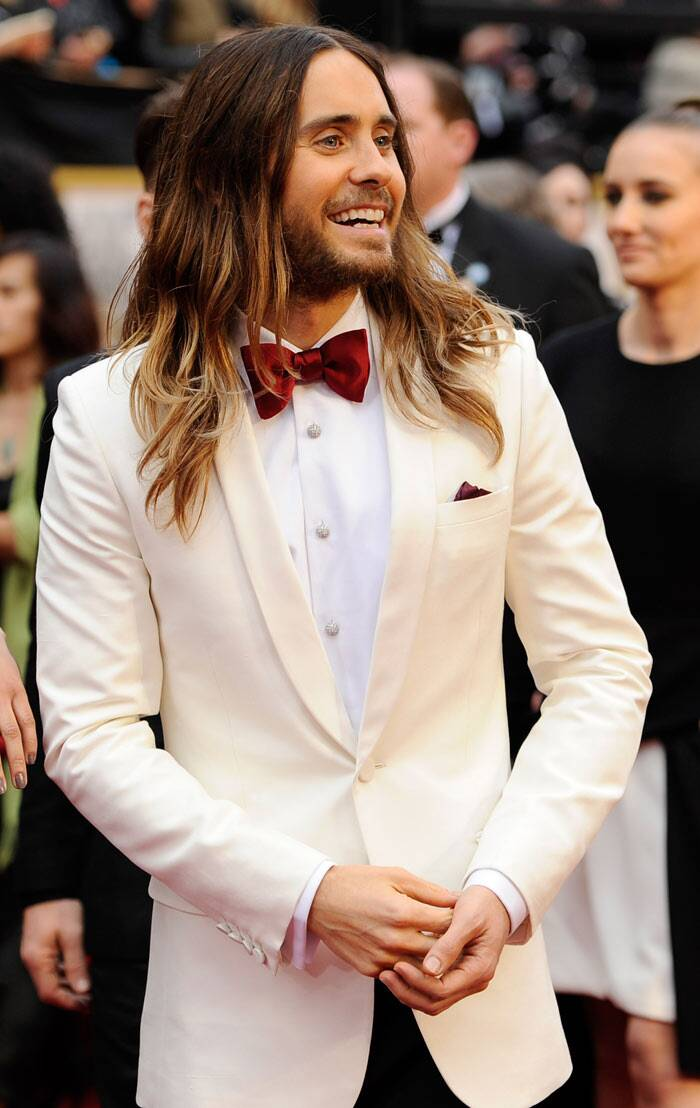 Best Supporting Actor for 'Dallas Buyers Club' was handsome in a white tuxedo with a red bow-tie. (AP)