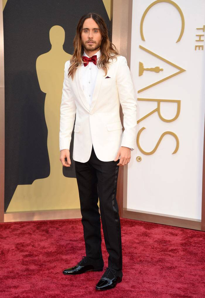 Jared Leto: He may have won an Oscar tonight, but Jared Leto's choice of a white tuxedo was somewhat tacky especially with the red bow-tie.