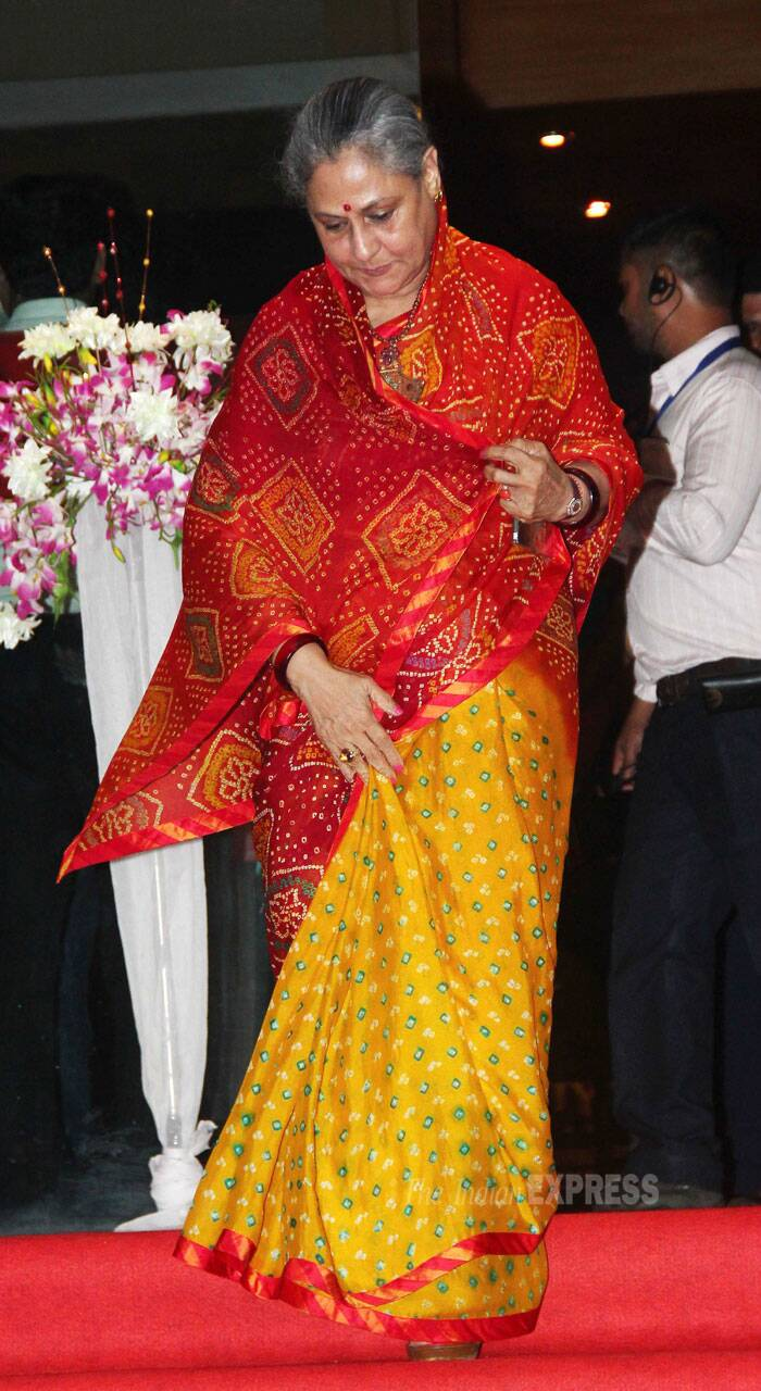 Jaya Bachchan looked nice in a bright yellow and red sari. (Photo: Varinder Chawla)