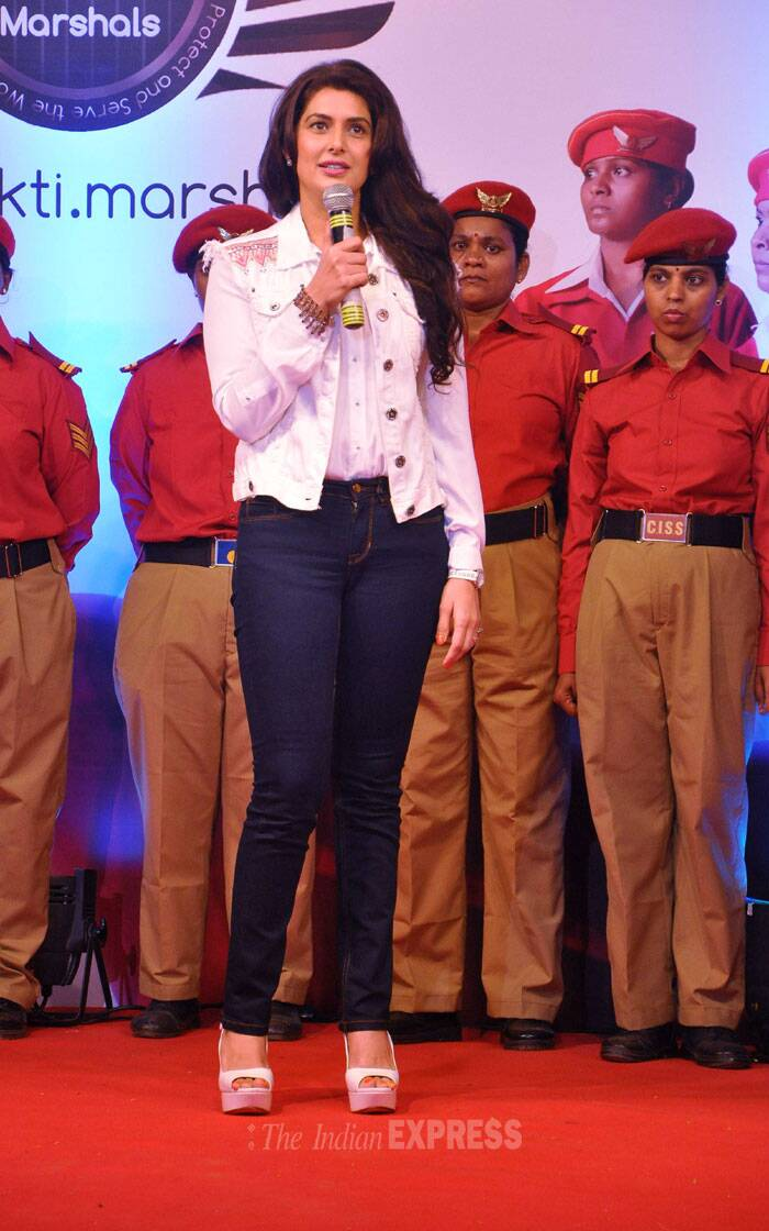 Jeevika Shah who won the Mrs India World 2004 beauty pageant snapped on stage as she addresses the crowd. (Photo: Varinder Chawla)