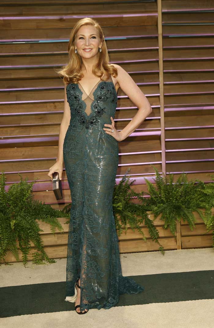 Actress Jennifer Westfeldt was passable in the green sheer dress. (Reuters)