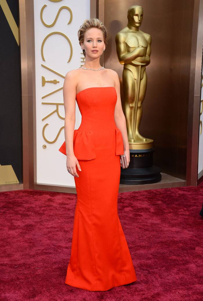 Oscar nominee for the night and face of Dior, Jennifer Lawrence was gorgeous in a beautiful red strapless gown by the brand and jewellery by Neil Lane.  The 'American Hustle' actress wore her short blonde hair in a voluminous combed back style and opted for  natural fresh makeup. (AP)