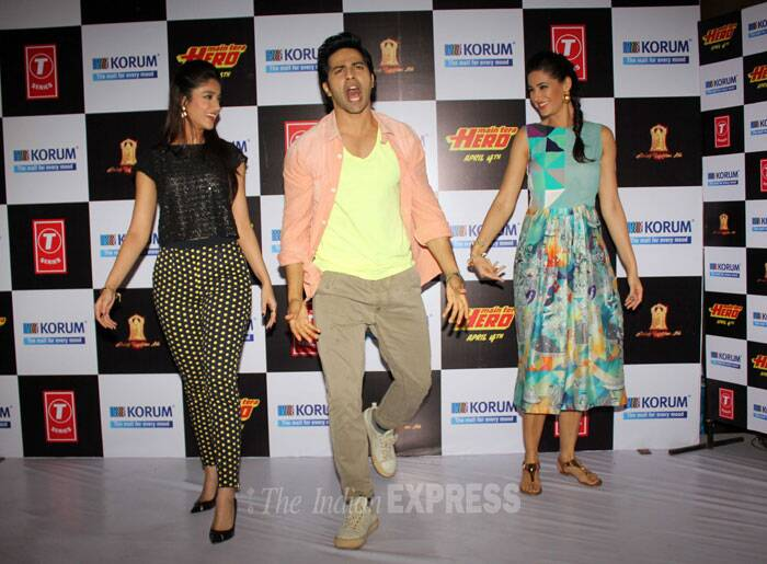The three, Varun, Ileana and Nargis do a little bit of jig for the fans. (Photo: Varinder Chawla)