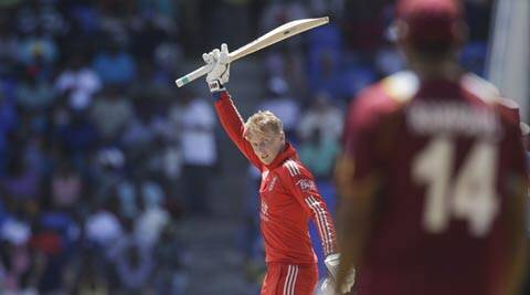 England's Joe Root celebrates scoring a century against West Indies during their third one-dayer (AP)