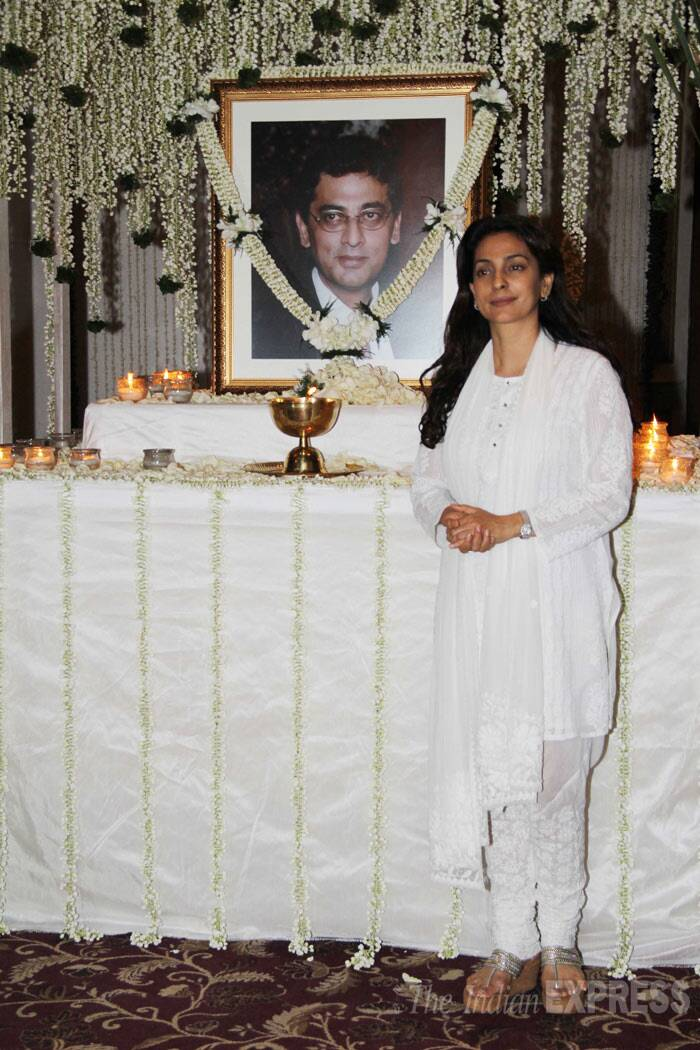 Juhi Chawla stands next to her brother's photograph.  (Photo: Varinder Chawla)