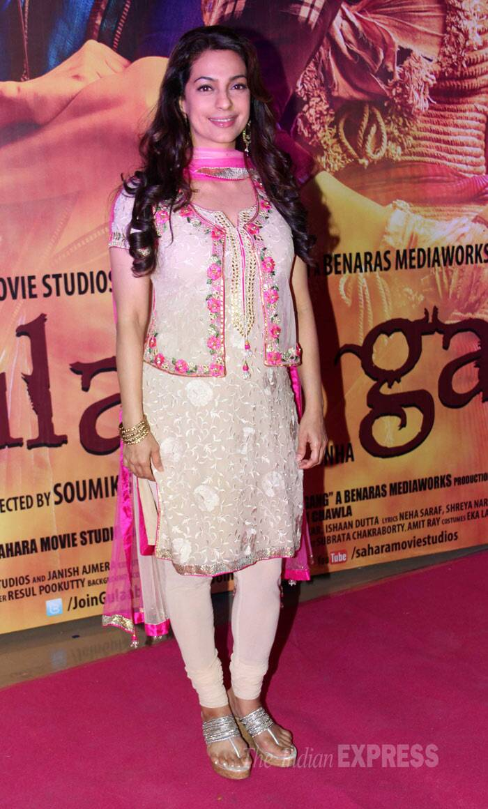 Juhi Chawla, who will be seen in a negative role for the first time on screen, was pretty in a pink and cream embroidered churridar. (Photo: Varinder Chawla)