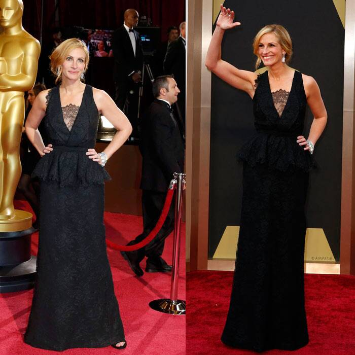 Julia Roberts: Though we love Julia Roberts, we think the actress could have done so much better tonight. Her black lace gown was pretty but the lace inset seemed a bit out of place. (AP)