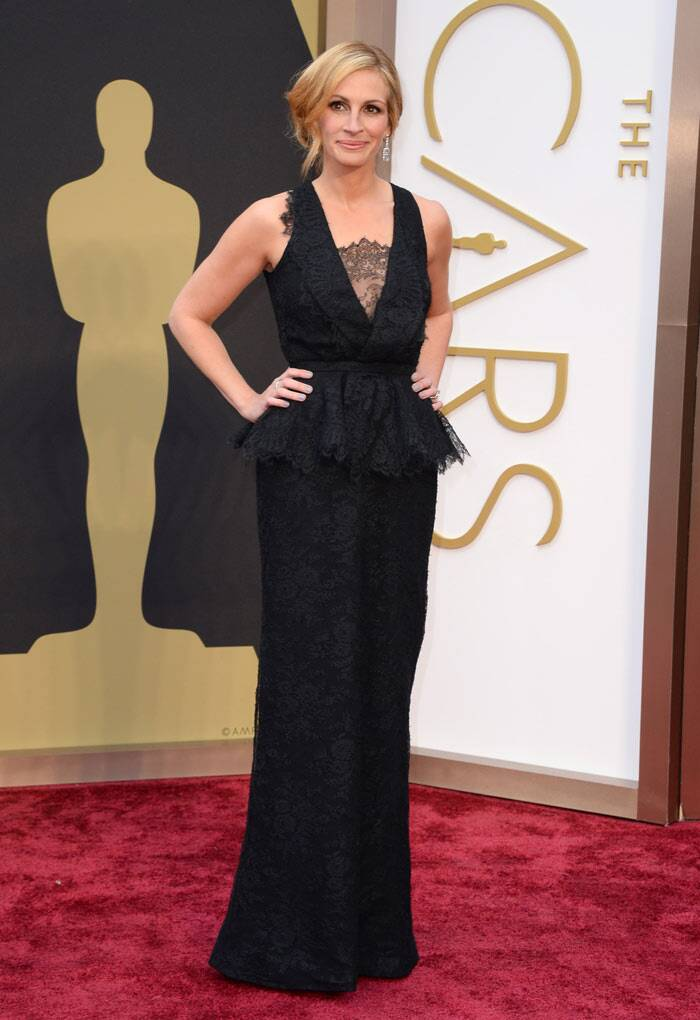 America's sweetheart Julia Roberts stunned in a black lace Givenchy dress with a peplum. (AP)