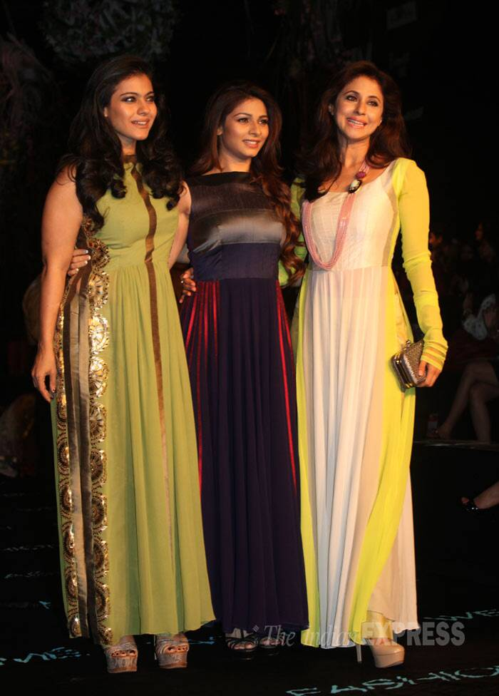 Kajol poses for a group picture along with Tanishaa and Urmila Matondkar. (Photo: Varinder Chawla)