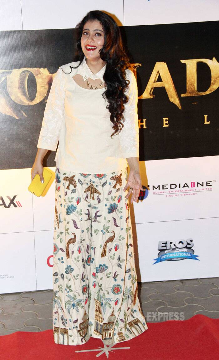Kajol was her usual bubbly self in a look by Purvi Doshi. (Photo: Varinder Chawla)