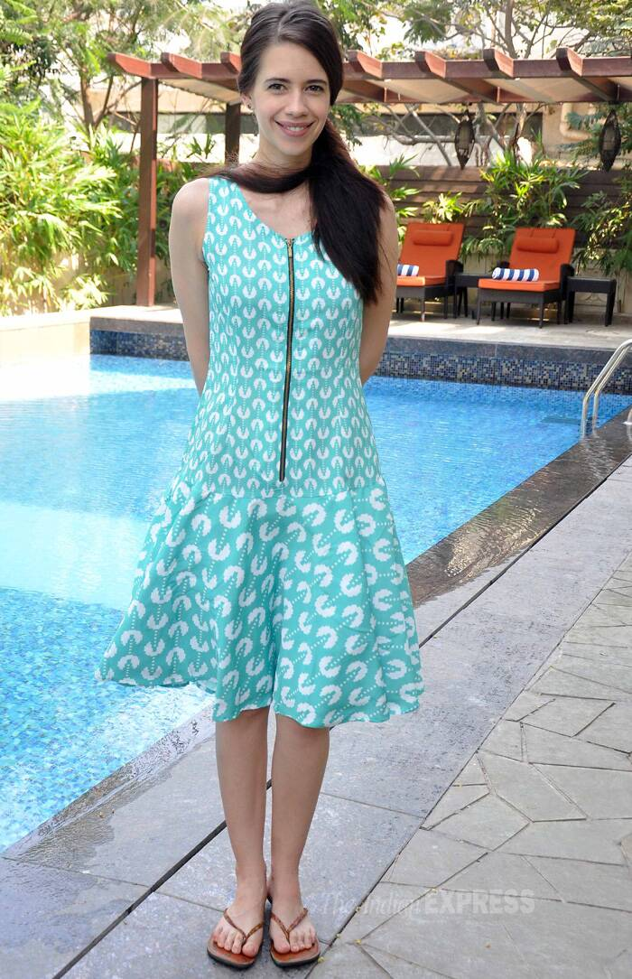 Kalki looked pretty in a printed summer dress and flip-flops as she posed for pictures. (Photo: Varinder Chawla)
