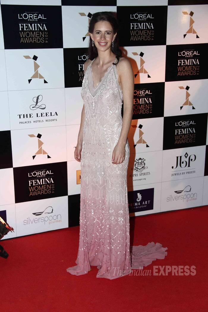 Kalki Koechlin stunned in a Ranna Gill maxi with a plunging neckline.  (Photo: Varinder Chawla)