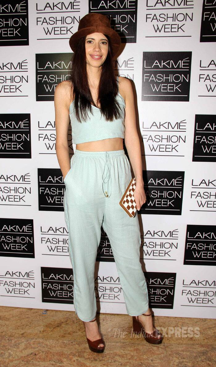 Kalki Koechlin was trendy in a mint coloured separates by Nishka Lulla with brown wedge heels and a fedora. (Photo: Varinder Chawla)