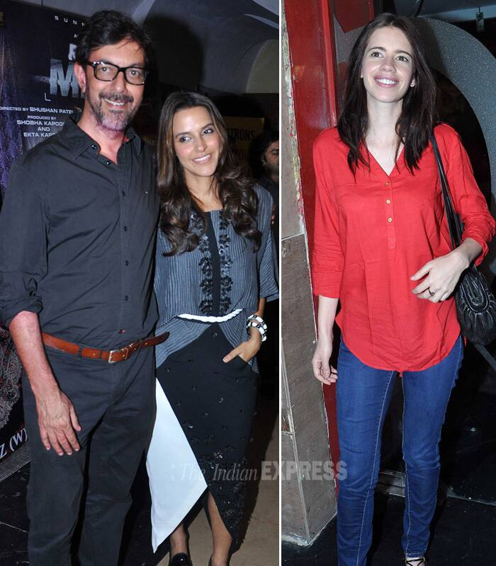 Bollywood beauties Neha Dhupia, Kalki Koechlin were joined by National award winning actor Irrfan and others for the premiere of Rajat Kapoor's 'Ankhon Dekhi' in Mumbai on Thursday (March 20). (Photo: Varinder Chawla)