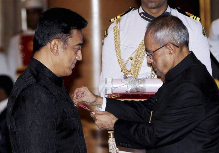 Tamil superstar Kamal Haasan, who received the Padma Bhushan award, looked handsome as ever as he went up to receive his award. (PTI)
