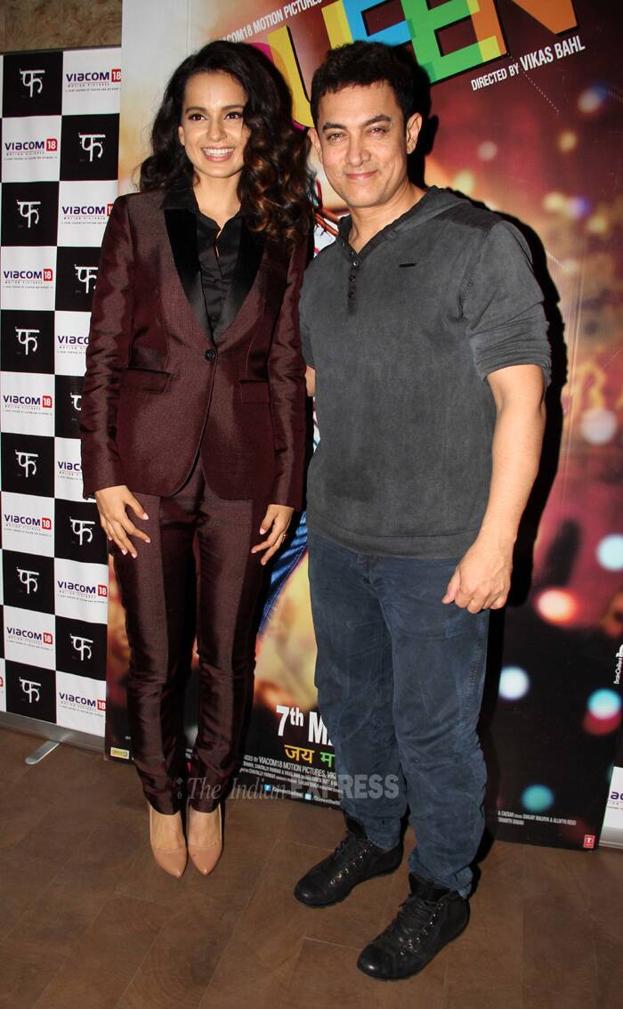 Bollywood actress Kangana Ranaut, who has got rave reviews for her role in her latest comedy film 'Queen', was spotted at the special screening of the film held for Mr. perfectionist Aamir Khan in Mumbai on Saturday (March 8). (Photo: Varinder Chawla)