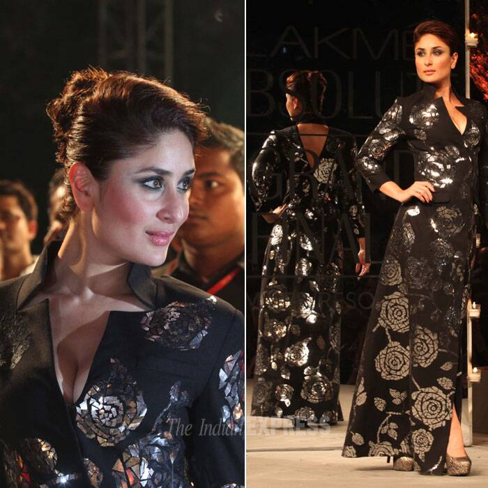 Kareena Kapoor was an absolute stunner in an all black outfit with shimmering silver prints. (IE Photo: Dilip Kagda)