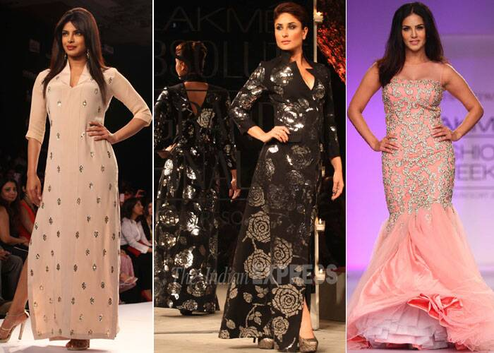 Actresses Kareena Kapoor Khan, Priyanka Chopra and Suuny Leone dazzled Mumbai on Sunday (March 16) as the curtains went down on the 22nd season of Lakmé Fashion Week Summer/Resort.  (IE Photo)